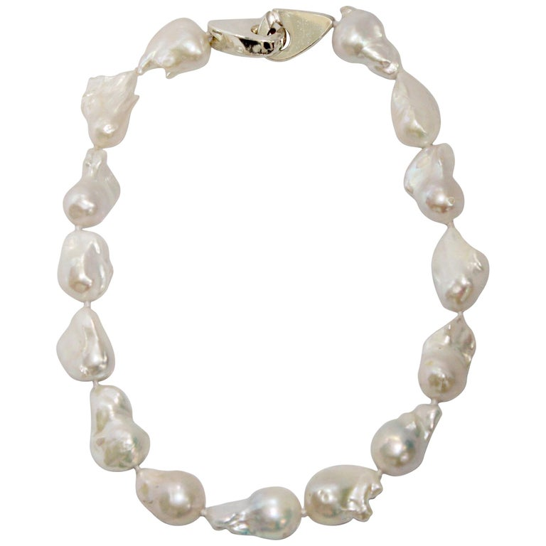 Patricia von Musulin Baroque Pearl and Sterling Silver Necklace For Sale