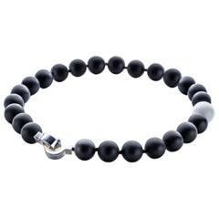 Patricia von Musulin Black and White Onyx Single Strand Necklace