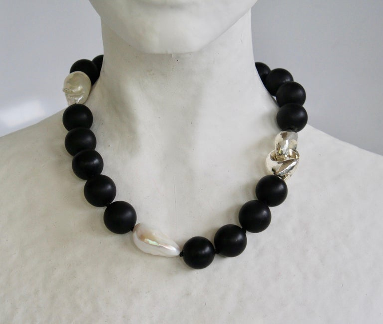 Black onyx and baroque pearl choker necklace with solid sterling silver clasp from Patricia von Musulin.