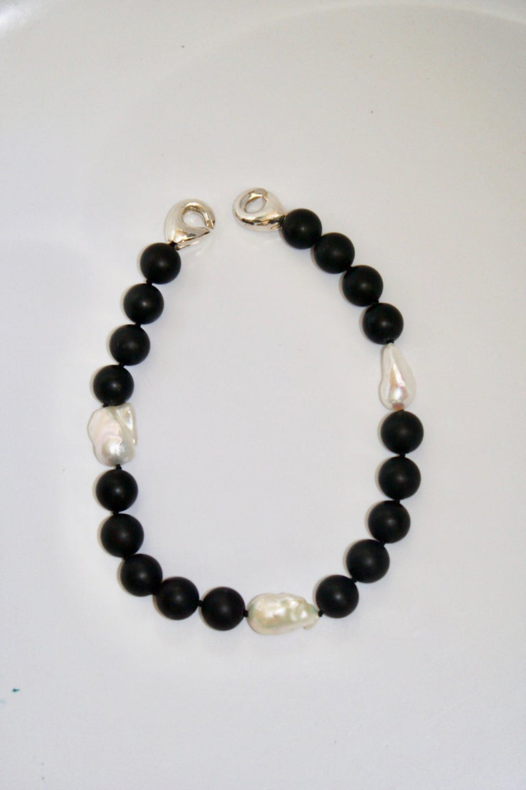 Patricia von Musulin Black Onyx and Baroque Pearl Choker Necklace In New Condition For Sale In Virginia Beach, VA