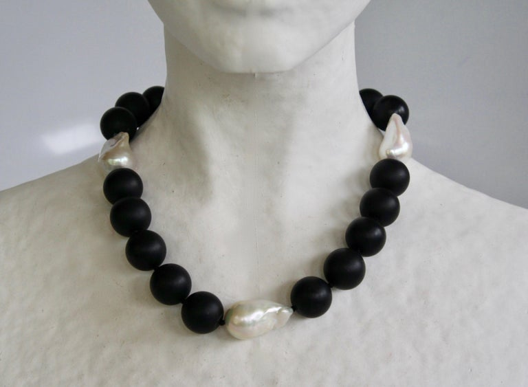 Women's Patricia von Musulin Black Onyx and Baroque Pearl Choker Necklace For Sale