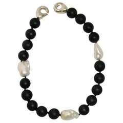 Patricia von Musulin Black Onyx and Baroque Pearl Choker Necklace