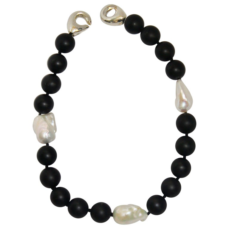 Patricia von Musulin Black Onyx and Baroque Pearl Choker Necklace For Sale