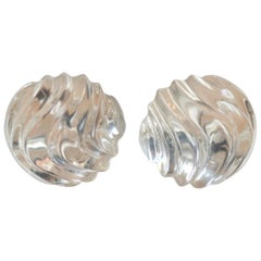 Patricia von Musulin Carved Disc Lucite Clip Earrings
