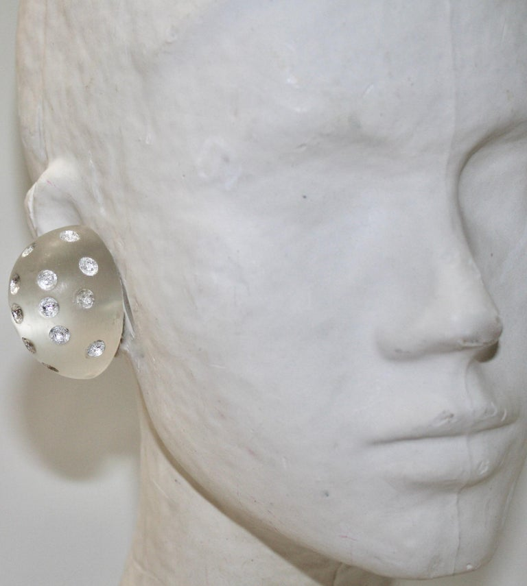 Patricia Von Musulin Frosted Lucite with Silver Dots In New Condition For Sale In Virginia Beach, VA