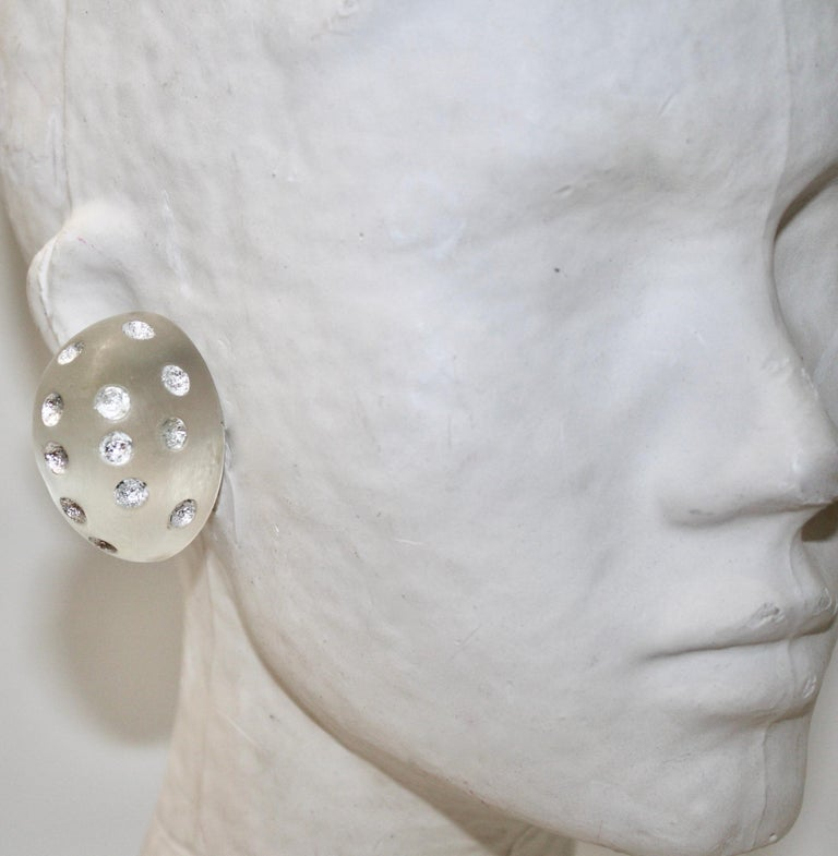 Women's or Men's Patricia Von Musulin Frosted Lucite with Silver Dots For Sale