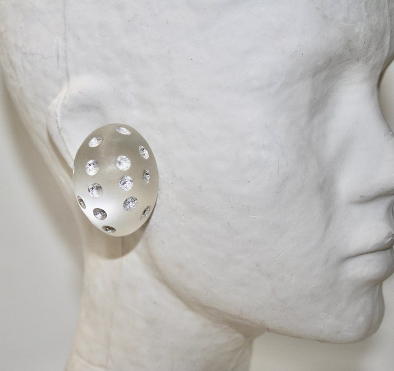 Patricia Von Musulin Frosted Lucite with Silver Dots For Sale 1