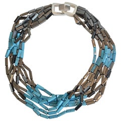 Patricia Von Musulin Hematite and Blue Turquoise Necklace