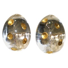 Patricia Von Musulin Lucite and Gold Dots Earrings