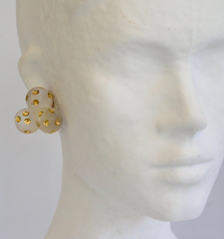 Lucite triple ball earrings with gold leaf detailing from Patricia von Musulin.