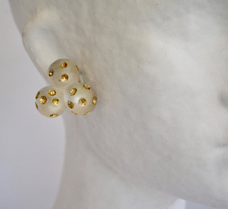 Patricia von Musulin Lucite and Gold Leaf Clip Earrings In New Condition For Sale In Virginia Beach, VA
