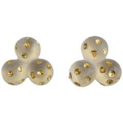Patricia von Musulin Lucite and Gold Leaf Clip Earrings