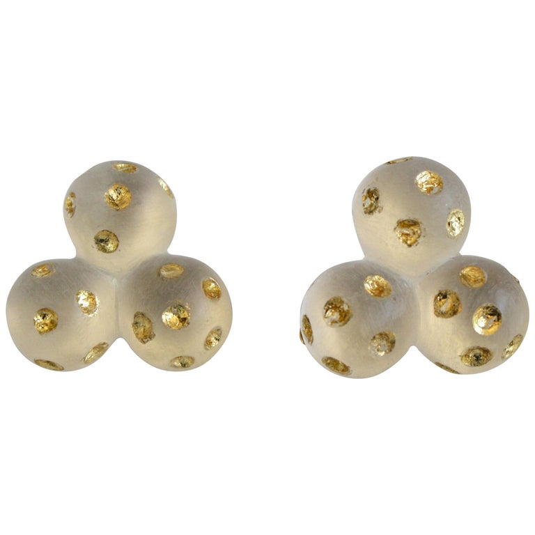 Patricia von Musulin Lucite and Gold Leaf Clip Earrings For Sale