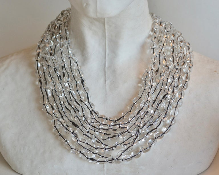 Multi strand rock crystal necklace hand threaded on Japanese silk from Patricia von Musulin. Solid sterling silver clasp.