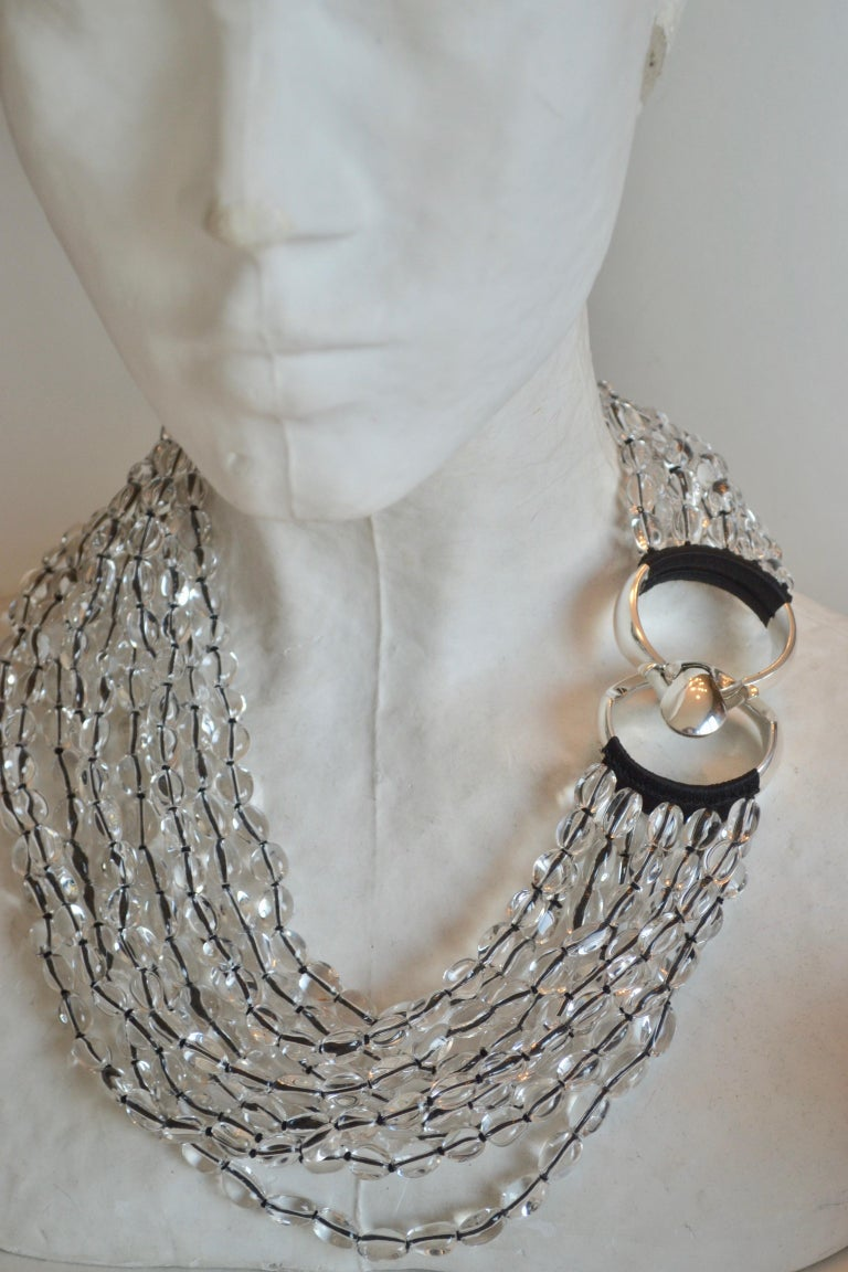 Patricia von Musulin Rock Crystal and Japanese Silk Necklace In New Condition For Sale In Virginia Beach, VA