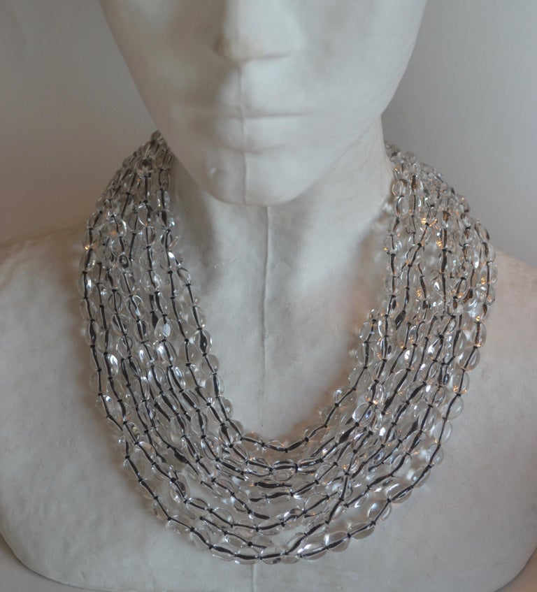 Patricia von Musulin Rock Crystal and Japanese Silk Necklace For Sale 1