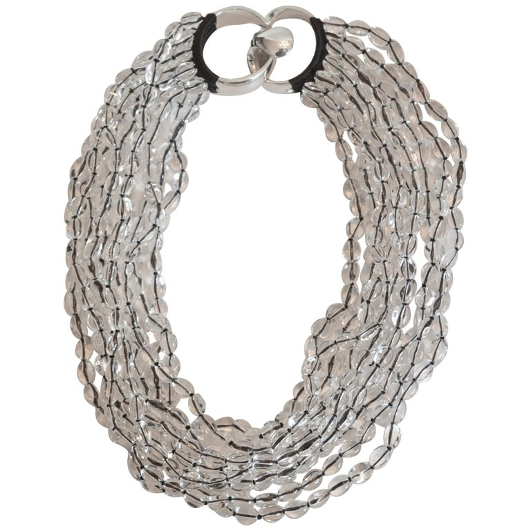 Patricia von Musulin Rock Crystal and Japanese Silk Necklace For Sale