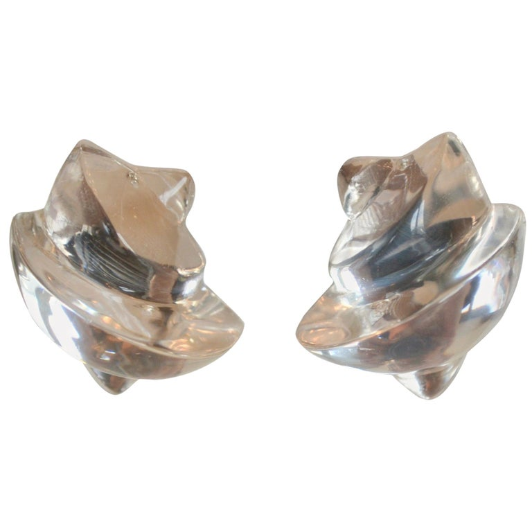 Patricia von Musulin Shell Motif Lucite Earrings For Sale
