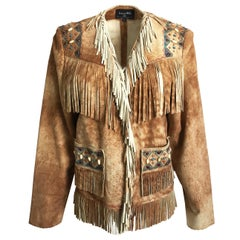 Patricia Wolf Leather Fringe Jacket Handpainted Beaded Western Americana M NWT