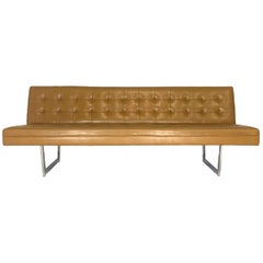 Patrician Sleek Midcentury Steel Sled Base Tufted Gallery Sofa Saddle Naugahyde