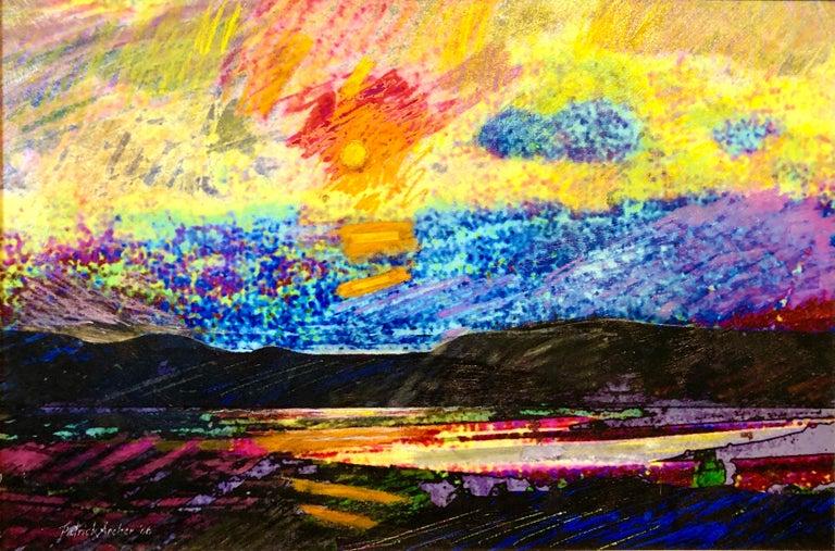 Pop Art Modernist Mixed Media Vibrant Day Glo Collage Painting Patrick Archer - Beige Landscape Painting by Patrick Archer