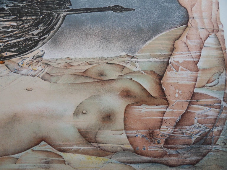 Patrick BRISSAUD Surrealist Body  Orignal lithograph Handsigned in pencil Numbered / 125 copies On Arches Vellum 54 x 74 cm (c. 22 x 30 in)  Very good condition, paper slightly yellowed at the edge of the sheet