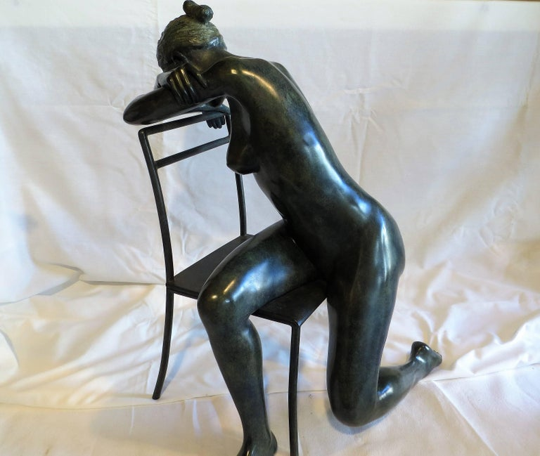 Patrick Brun Nude Sculpture - Pose on a Chair