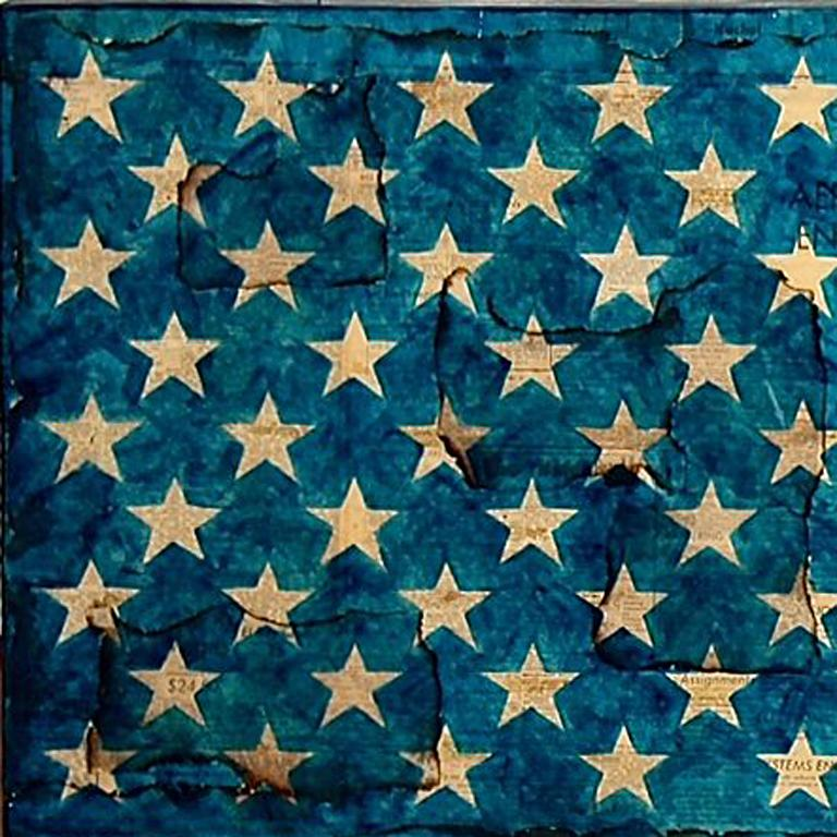 Malcolm X Vendetta - American Flag Painting over Vintage Newsprint Photo Collage - Photograph by Patrick Burns