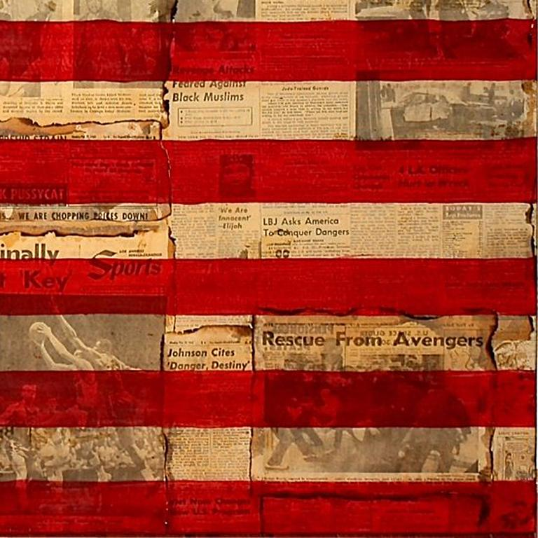 Malcolm X Vendetta - American Flag Painting over Vintage Newsprint Photo Collage - Contemporary Photograph by Patrick Burns