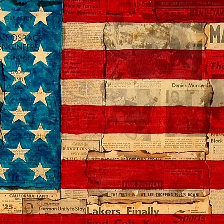 Malcolm X Vendetta - American Flag Painting over Vintage Newsprint Photo Collage - Red Black and White Photograph by Patrick Burns