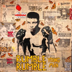 Rumble Young Man - Muhammad Ali, Pop Art Photo Collage with Vintage Newsprint