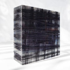 Untitled #10- Plexiglass and black nylon thread minimalistic abstract sculpture
