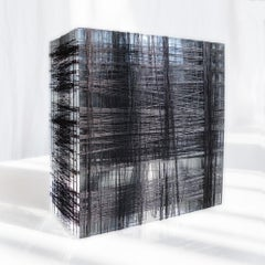 Untitled #3- Plexiglass and black nylon thread minimalistic abstract sculpture