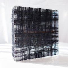 Untitled #4- Plexiglass and black nylon thread minimalistic abstract sculpture