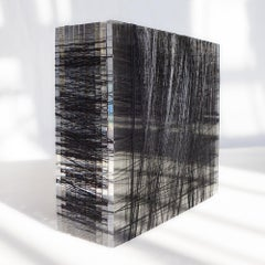 Untitled #5- Plexiglass and black nylon thread minimalistic abstract sculpture