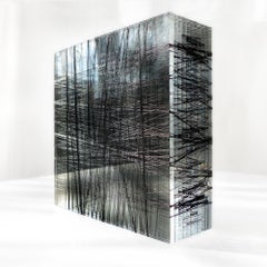 Untitled #7- Plexiglass and black nylon thread minimalistic abstract sculpture