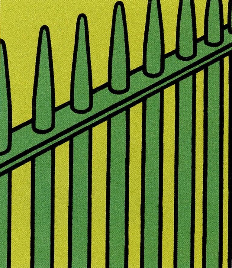 She fled along the avenue - 20th Century, Patrick Caulfield, Still Life Print - Green Still-Life Print by Patrick Caulfield