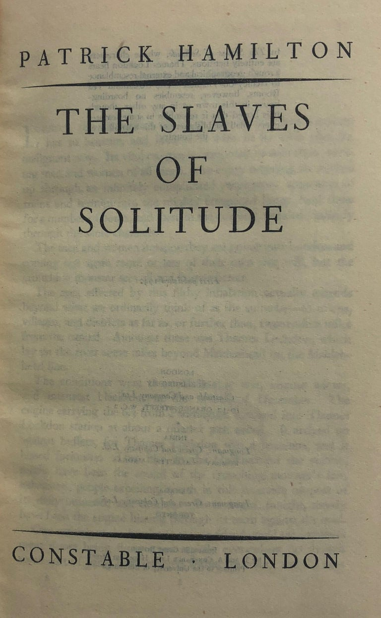 English Patrick Hamilton, The Slaves of Solitude, First Edition Book For Sale
