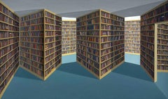 Patrick Hughes (b. 1939) Fiction Section, 1994 oil on board construction hand/S