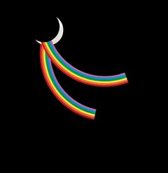 Patrick Hughes - Hanging on a hook, rainbow, gloss, moon, contemporary, painting