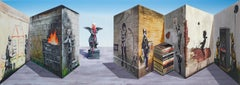 Patrick Hughes - Banksee, op art, optical art, optical illusion, banksy