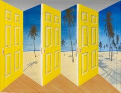 Patrick Hughes - Palm Doors, contemporary, op art, optical, reverspective, tree