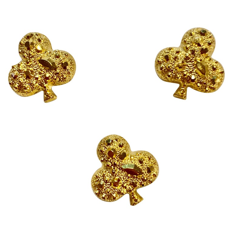 Patrick Kelly 1980s Gold Club Buttons Sparkles for Streamline For Sale