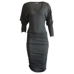 Patrick Kelly 1980s Grey V Neck Jersey Ruched Midi Dress