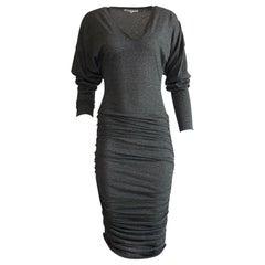 Patrick Kelly 1980s Grey V Neck Jersey Ruched Midi Dress