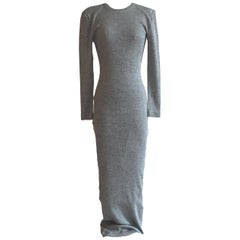 Patrick Kelly 1980s Silver Grey Metallic Bodycon Knit Maxi Dress
