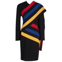 PATRICK KELLY Black Wool Knit Dress with Striped Color Block Sash, Fall 1989
