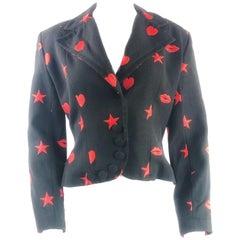 PATRICK KELLY Paris Black Blazer Jacket w/ Red Hearts, Lips and Stars Size US8