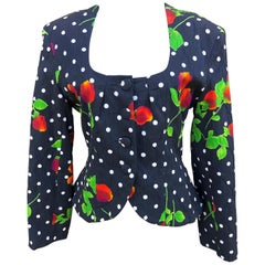 Patrick Kelly Paris Vintage 1980's Cotton Polka Dot Floral Jacket