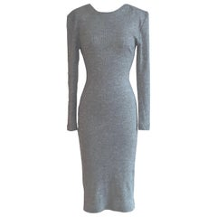 Patrick Kelly Silver Grey Metallic Bodycon Knit Midi Dress with Scoop Back, 1980